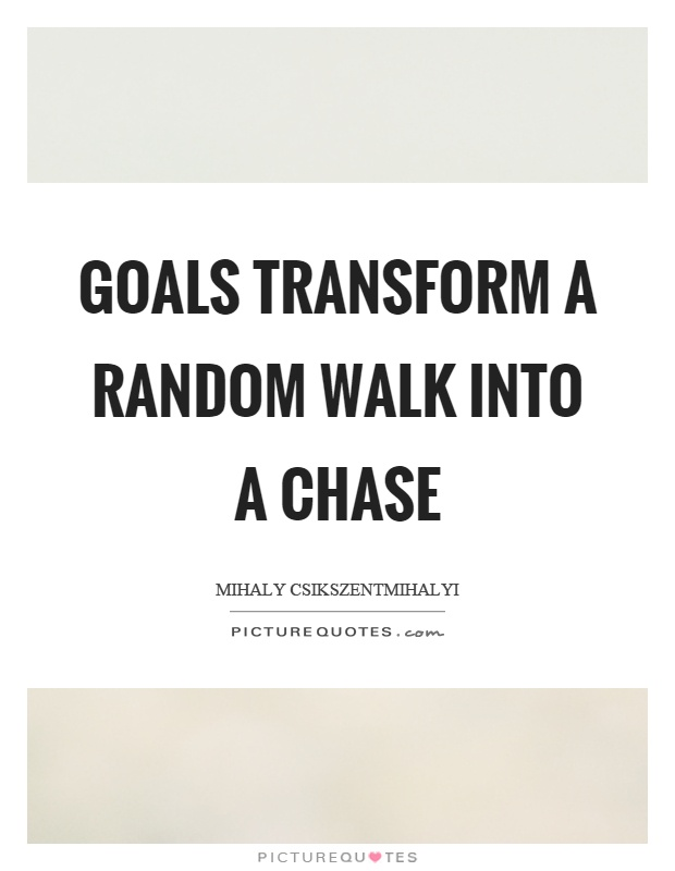 Goals transform a random walk into a chase Picture Quote #1