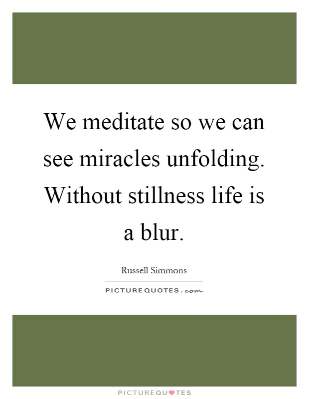 We meditate so we can see miracles unfolding. Without stillness life is a blur Picture Quote #1