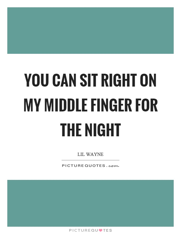 You can sit right on my middle finger for the night Picture Quote #1