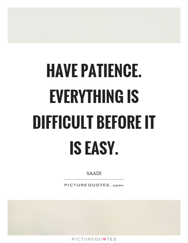 Have patience. Everything is difficult before it is easy Picture Quote #1