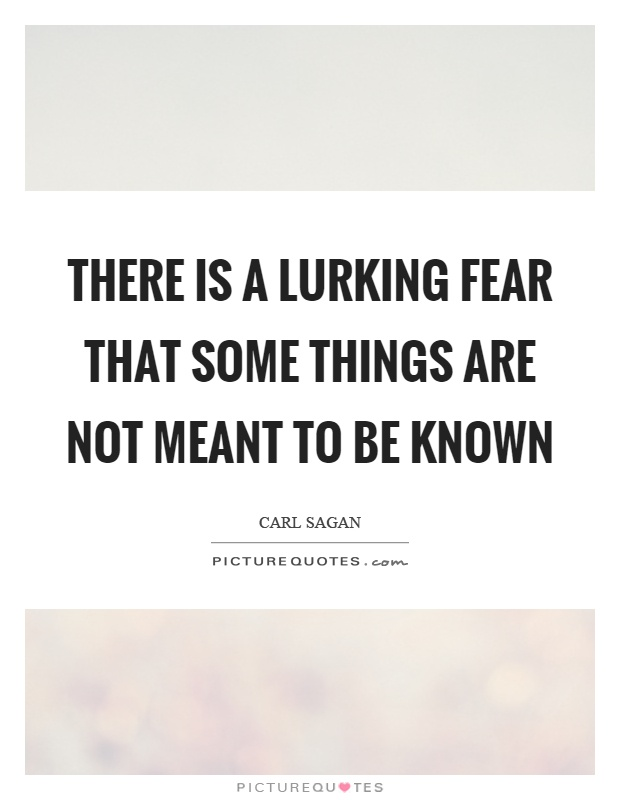 There is a lurking fear that some things are not meant to be known Picture Quote #1