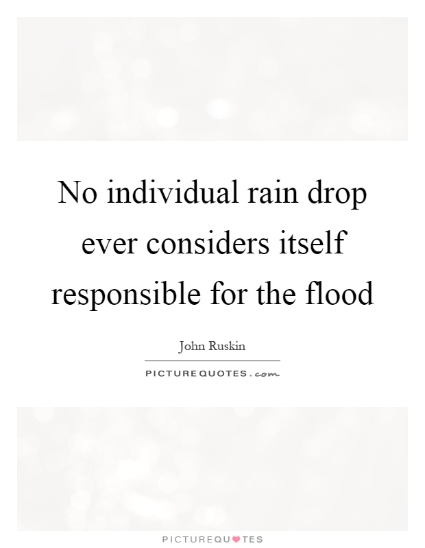 No single raindrop believes it is responsible for the flood quote