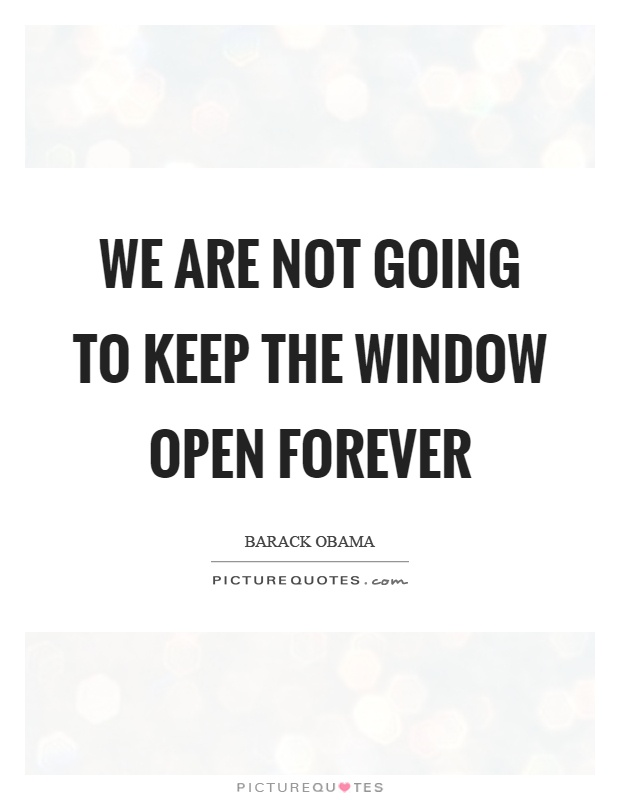 We are not going to keep the window open forever Picture Quote #1