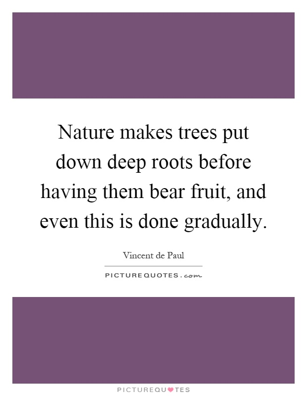 Nature makes trees put down deep roots before having them bear fruit, and even this is done gradually Picture Quote #1