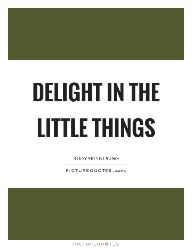 Delight in the little things Picture Quote #1