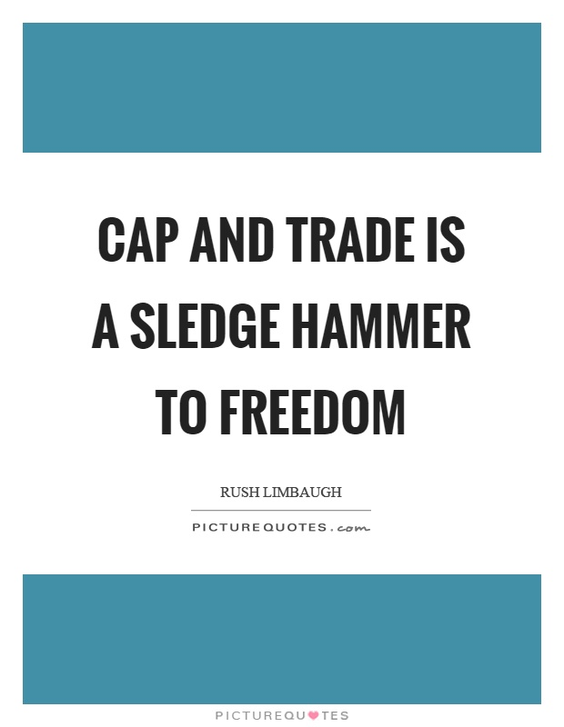 Cap and trade is a sledge hammer to freedom Picture Quote #1