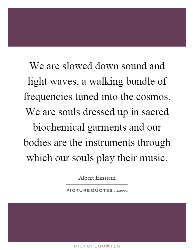 We are slowed down sound and light waves, a walking bundle of frequencies tuned into the cosmos. We are souls dressed up in sacred biochemical garments and our bodies are the instruments through which our souls play their music Picture Quote #1