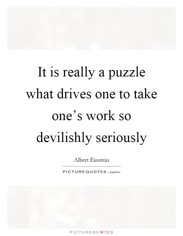 It is really a puzzle what drives one to take one's work so devilishly seriously Picture Quote #1