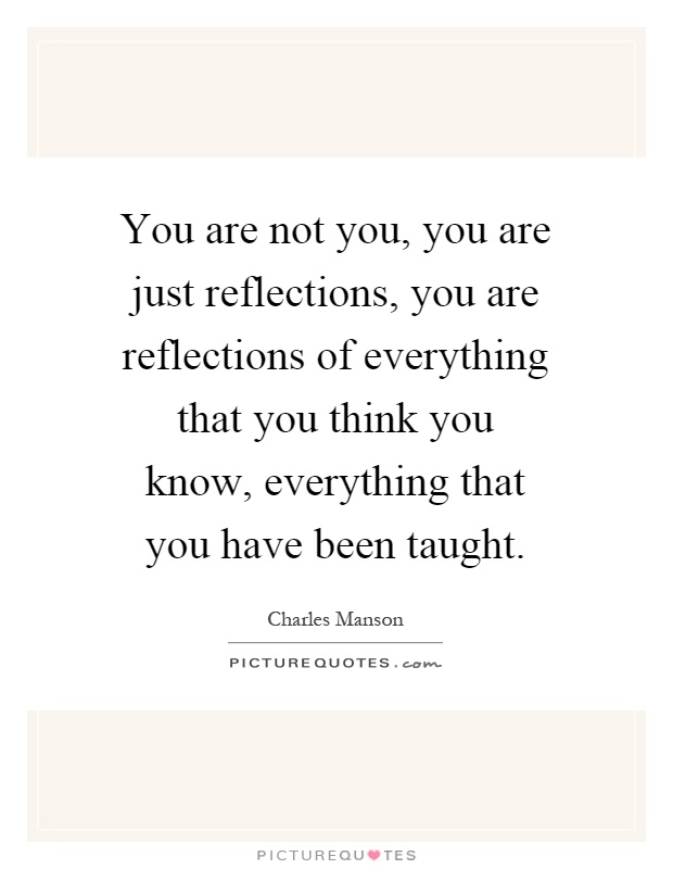 You are not you, you are just reflections, you are reflections of everything that you think you know, everything that you have been taught Picture Quote #1