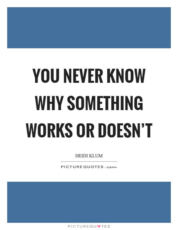 You never know why something works or doesn't Picture Quote #1