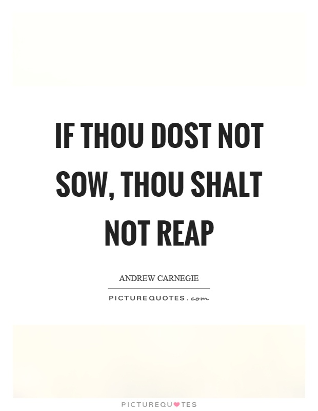 If thou dost not sow, thou shalt not reap Picture Quote #1
