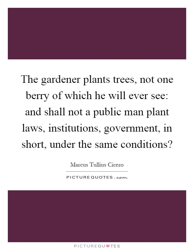 The gardener plants trees, not one berry of which he will ever see: and shall not a public man plant laws, institutions, government, in short, under the same conditions? Picture Quote #1
