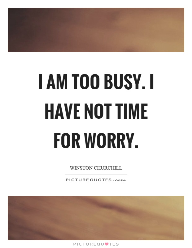 I am too busy. I have not time for worry Picture Quote #1