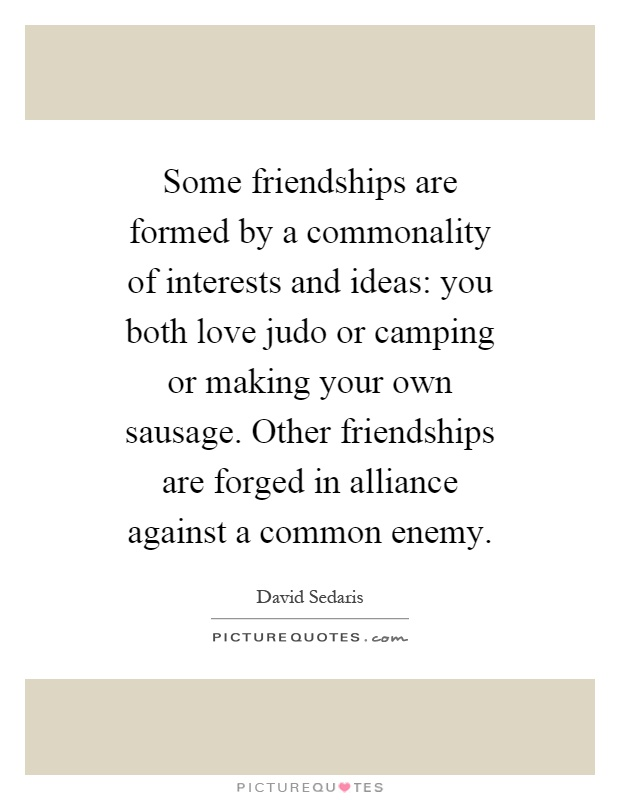 Some friendships are formed by a commonality of interests and ideas: you both love judo or camping or making your own sausage. Other friendships are forged in alliance against a common enemy Picture Quote #1