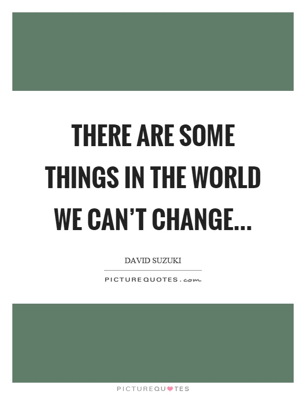 There are some things in the world we can't change Picture Quote #1