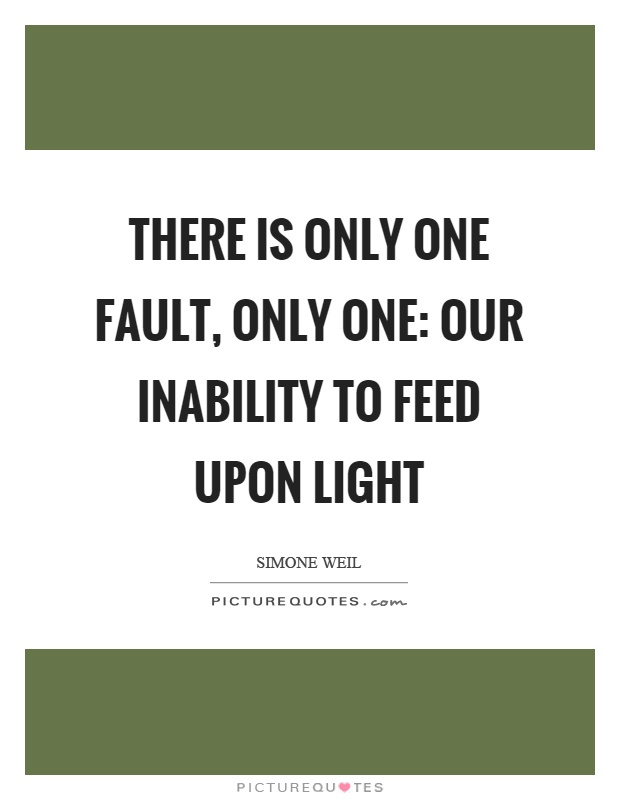 There is only one fault, only one: our inability to feed upon light Picture Quote #1
