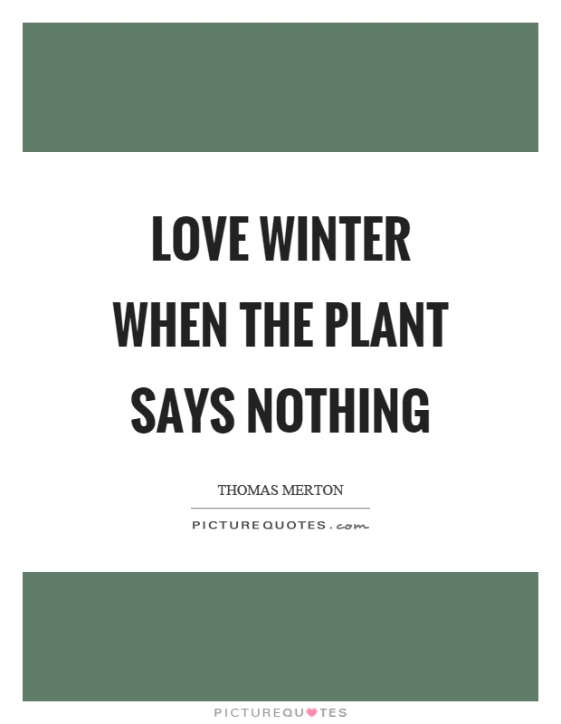 Love winter when the plant says nothing Picture Quote #1