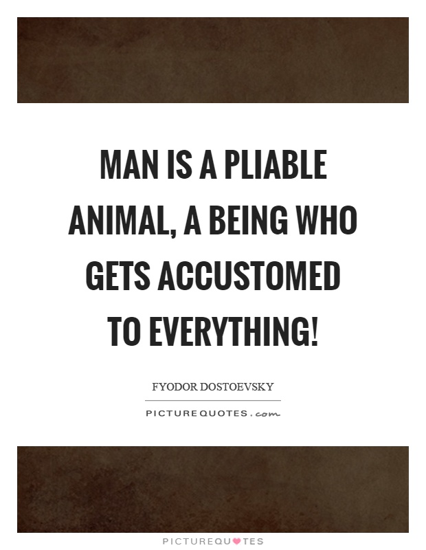 Man is a pliable animal, a being who gets accustomed to everything! Picture Quote #1