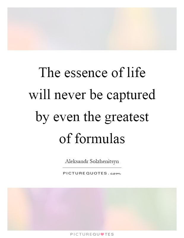 The essence of life will never be captured by even the greatest of formulas Picture Quote #1