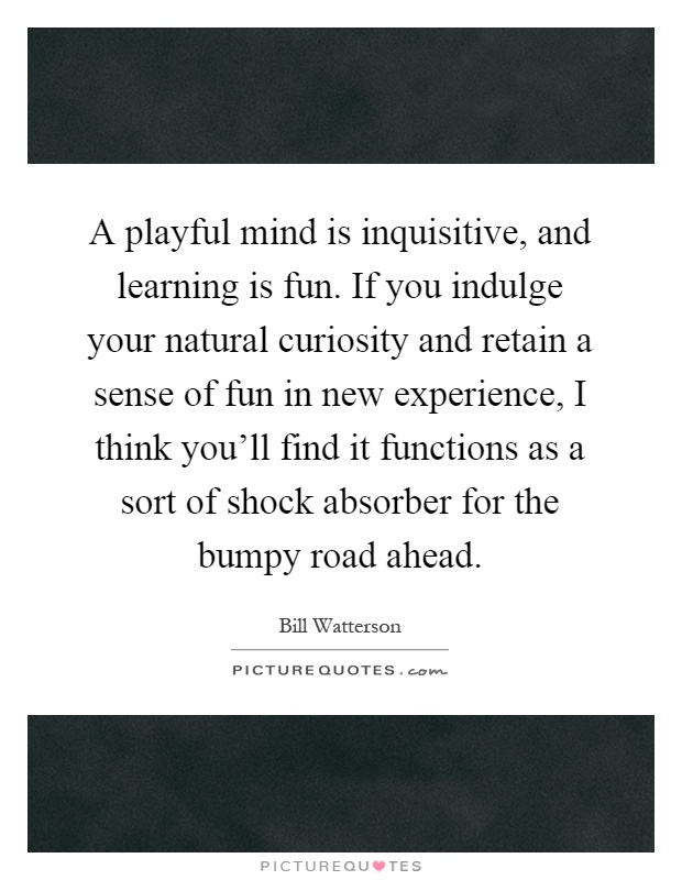 A playful mind is inquisitive, and learning is fun. If you indulge your natural curiosity and retain a sense of fun in new experience, I think you'll find it functions as a sort of shock absorber for the bumpy road ahead Picture Quote #1