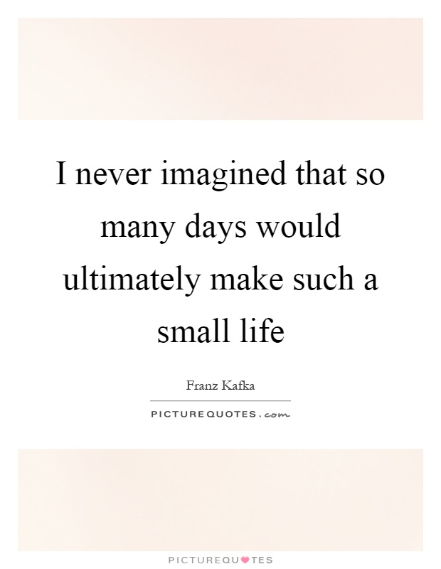 I never imagined that so many days would ultimately make such a small life Picture Quote #1