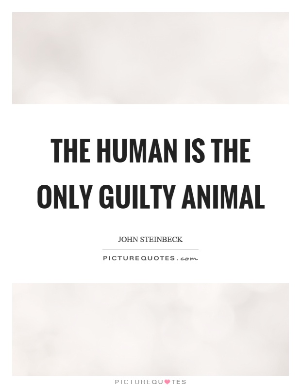 The human is the only guilty animal Picture Quote #1