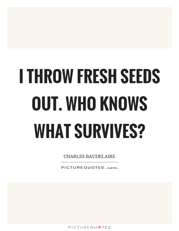 I throw fresh seeds out. Who knows what survives? Picture Quote #1
