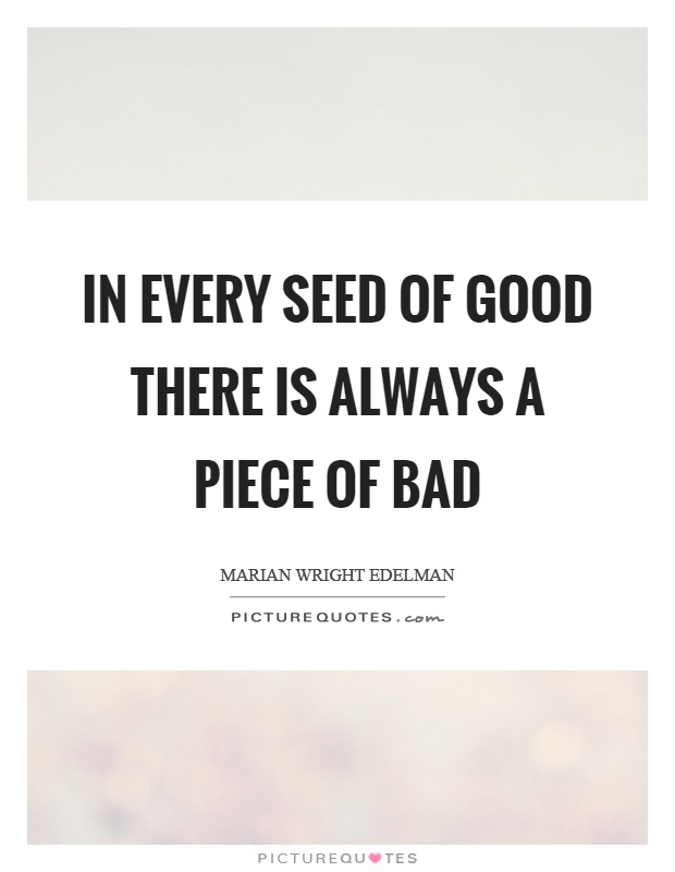 In every seed of good there is always a piece of bad Picture Quote #1