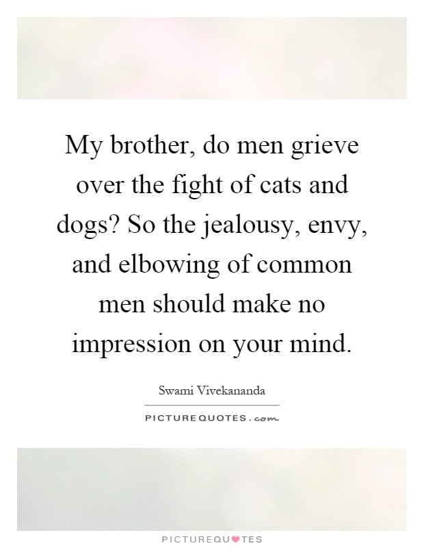 My brother, do men grieve over the fight of cats and dogs? So the jealousy, envy, and elbowing of common men should make no impression on your mind Picture Quote #1