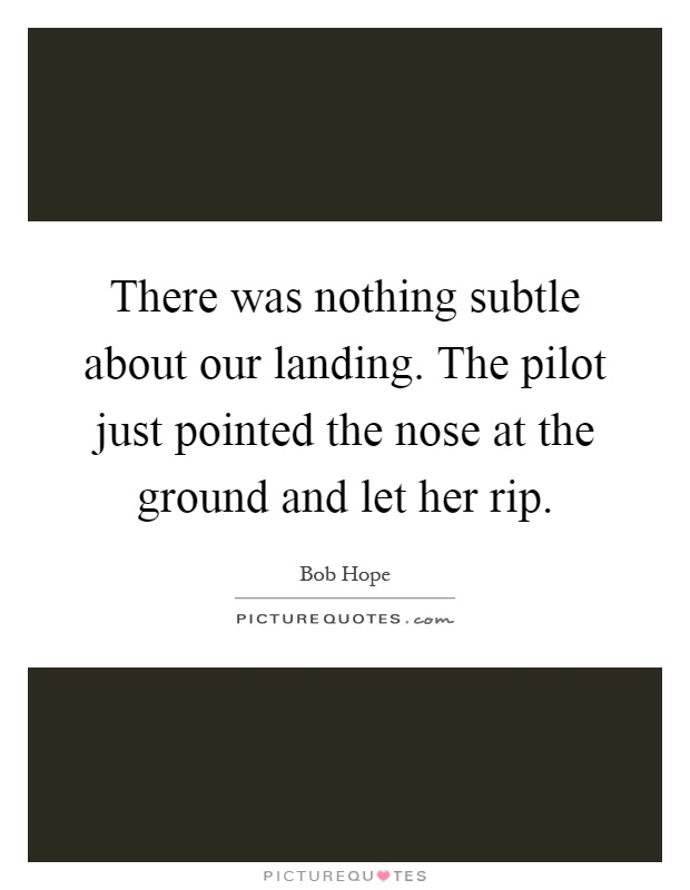 There was nothing subtle about our landing. The pilot just pointed the nose at the ground and let her rip Picture Quote #1
