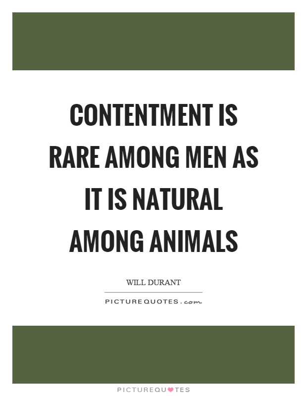 Contentment is rare among men as it is natural among animals Picture Quote #1