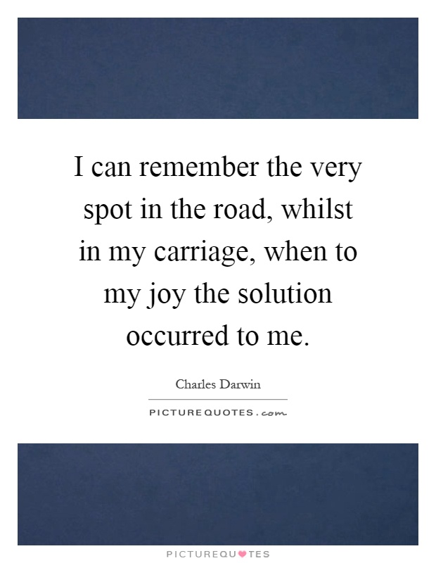 I can remember the very spot in the road, whilst in my carriage, when to my joy the solution occurred to me Picture Quote #1