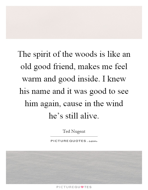 The spirit of the woods is like an old good friend, makes me feel warm and good inside. I knew his name and it was good to see him again, cause in the wind he's still alive Picture Quote #1