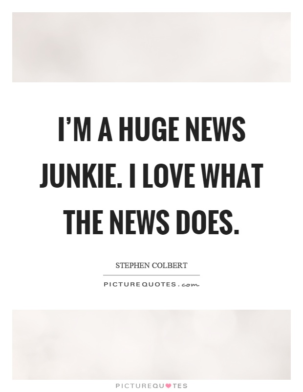 I'm a huge news junkie. I love what the news does Picture Quote #1