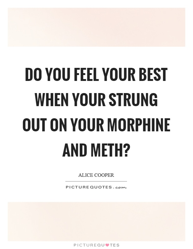 Do you feel your best when your strung out on your morphine and meth? Picture Quote #1