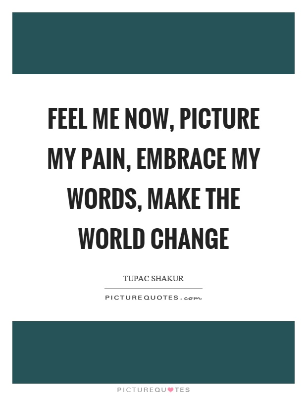Feel me now, picture my pain, embrace my words, make the world change Picture Quote #1