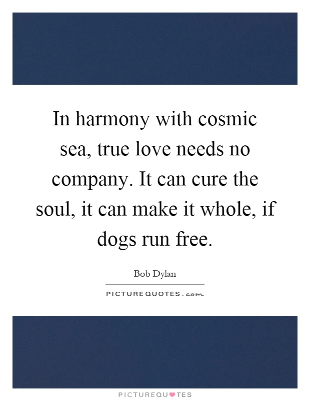 In harmony with cosmic sea, true love needs no company. It can cure the soul, it can make it whole, if dogs run free Picture Quote #1
