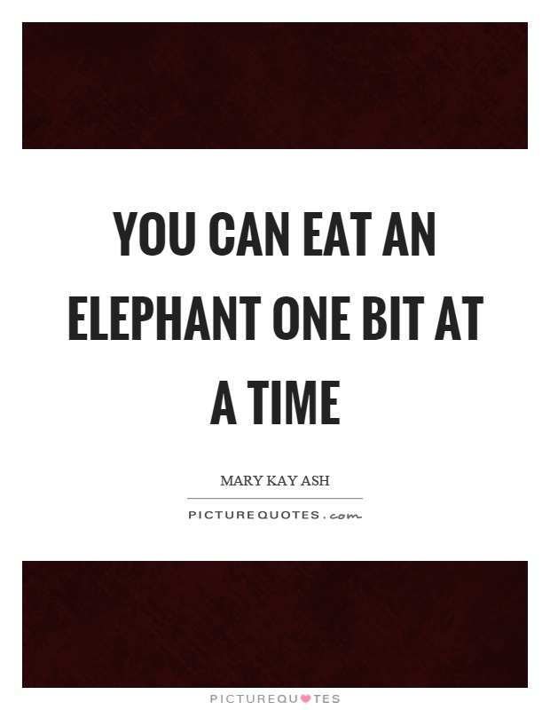 You can eat an elephant one bit at a time Picture Quote #1