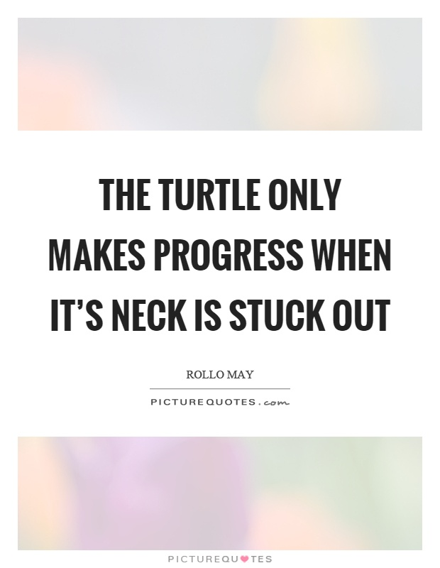 The turtle only makes progress when it's neck is stuck out Picture Quote #1