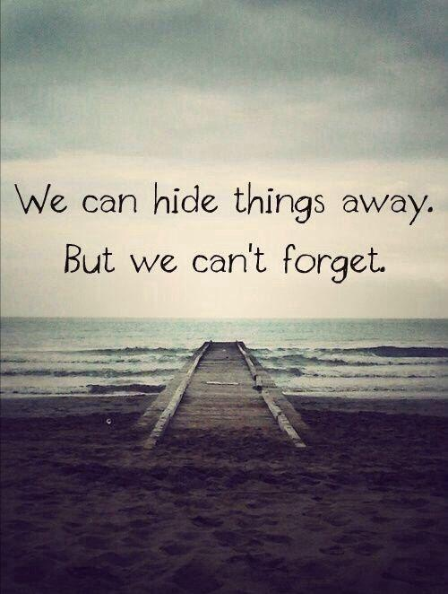 We can hide things away. But we can't forget Picture Quote #1