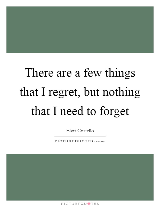 There are a few things that I regret, but nothing that I need to forget Picture Quote #1
