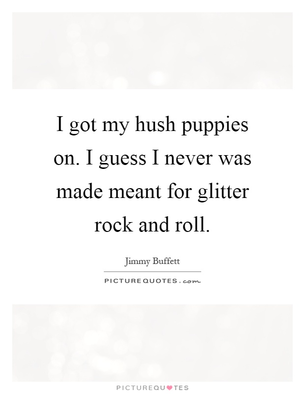 I got my hush puppies on. I guess I never was made meant for glitter rock and roll Picture Quote #1