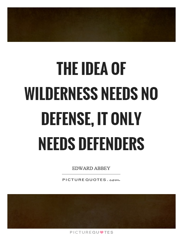 The idea of wilderness needs no defense, it only needs defenders Picture Quote #1