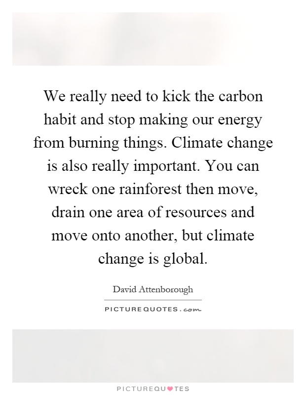 We really need to kick the carbon habit and stop making our energy from burning things. Climate change is also really important. You can wreck one rainforest then move, drain one area of resources and move onto another, but climate change is global Picture Quote #1