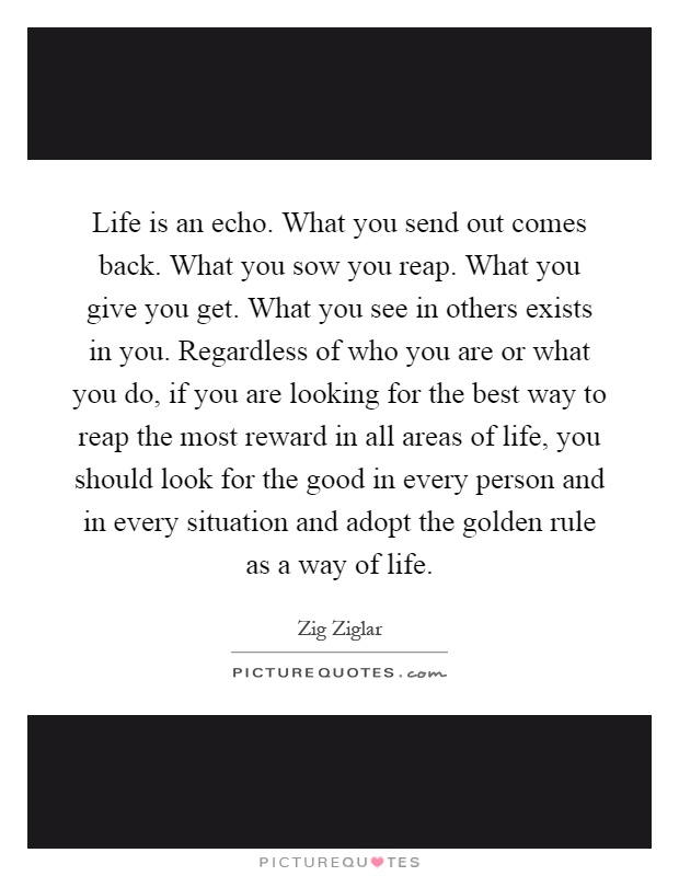 Life Is An Echo. What You Send Out Comes Back. What You Sow You Reap. What  You Give You Get. What You See In Others Exists In You.