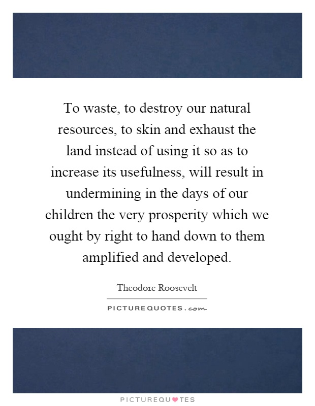 To waste, to destroy our natural resources, to skin and exhaust the land instead of using it so as to increase its usefulness, will result in undermining in the days of our children the very prosperity which we ought by right to hand down to them amplified and developed Picture Quote #1