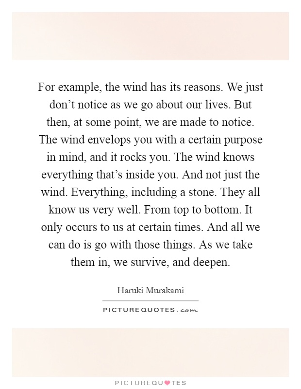 For example, the wind has its reasons. We just don't ...