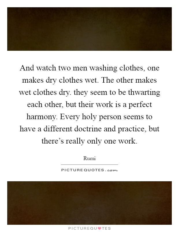 And watch two men washing clothes, one makes dry clothes wet. The other makes wet clothes dry. they seem to be thwarting each other, but their work is a perfect harmony. Every holy person seems to have a different doctrine and practice, but there's really only one work Picture Quote #1