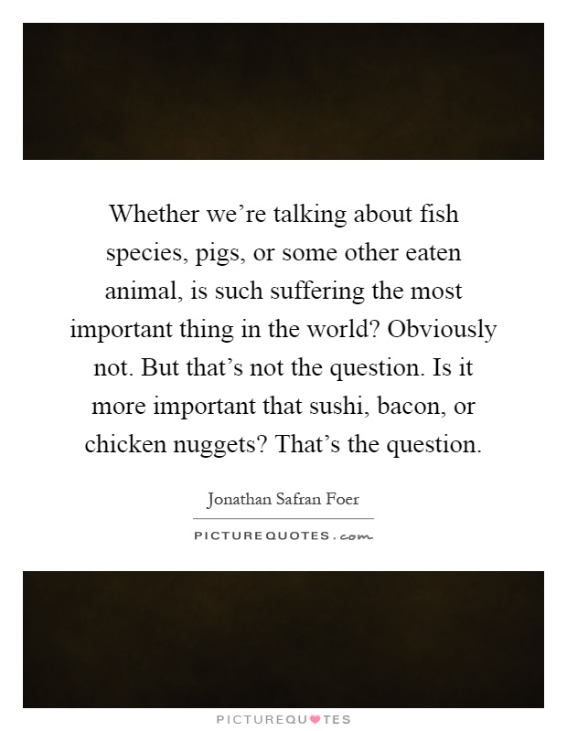 Whether we're talking about fish species, pigs, or some other eaten animal, is such suffering the most important thing in the world? Obviously not. But that's not the question. Is it more important that sushi, bacon, or chicken nuggets? That's the question Picture Quote #1