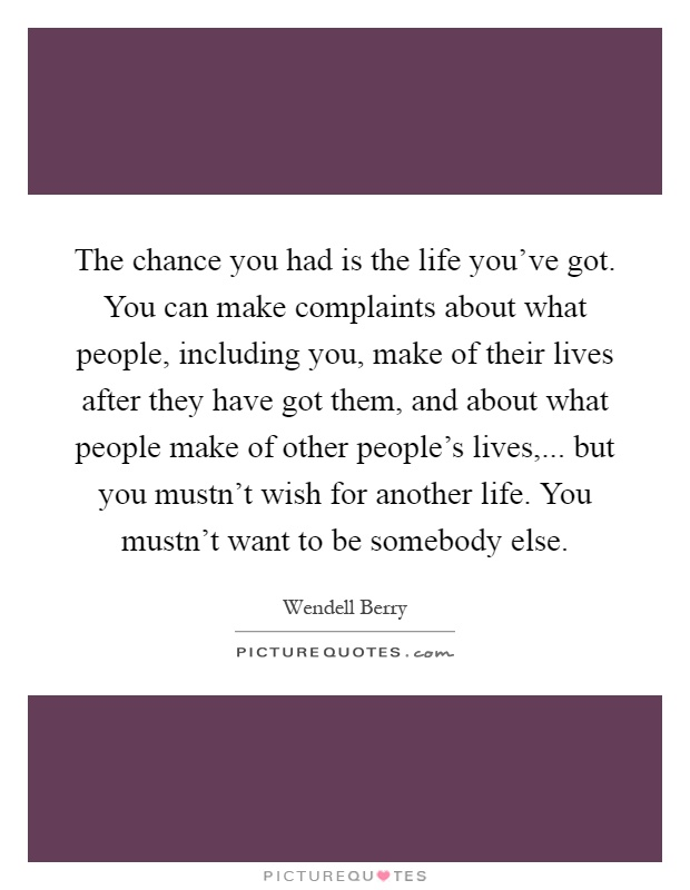 The chance you had is the life you've got. You can make complaints about what people, including you, make of their lives after they have got them, and about what people make of other people's lives,... but you mustn't wish for another life. You mustn't want to be somebody else Picture Quote #1